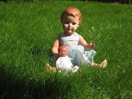 poppen genieten van de zon in het gras foto