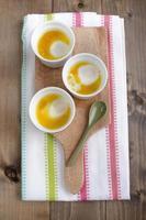 gebakken biologische eieren met boter foto