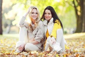 vrienden in herfst park