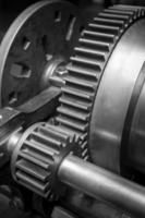 vintage klok tandwiel, samenwerking tussen bedrijven, teamwork en tijd concept foto
