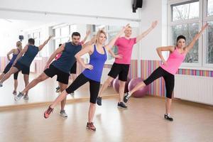 aerobics op fitnesslessen foto