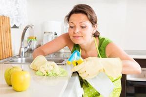 huisvrouw het schoonmaken van meubilair in keuken