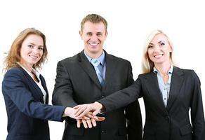 groep van mensen uit het bedrijfsleven op wit wordt geïsoleerd foto
