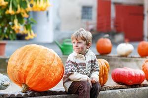 kleine jongen zittend op pompoen patch foto