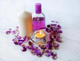 pink spa background.candle, roze roos foto