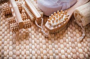 gezonde levensstijl ingesteld op rieten mat sauna concept