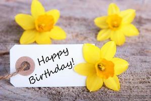 label met gelukkige verjaardag foto