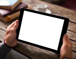 man met behulp van digitale tablet-computer foto