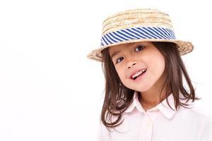 schattig, gelukkig, glimlachend vrouwelijk Aziatisch Kaukasisch meisje foto