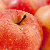 rode appels met waterdruppel foto