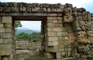 oud houtsnijwerk uit de Maya-cultuur in Honduras