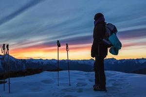 genieten van de zonsondergang i foto