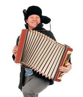 Russische man met accordeon foto