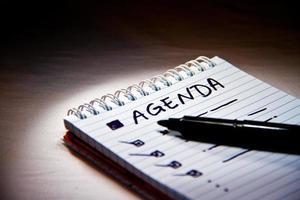 agenda in de vergadering foto