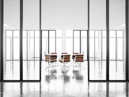 vergaderruimte met panoramische ramen en fauteuils. 3D render foto