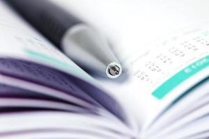 selectieve focus van balpen op geopende bekleed dagboek foto