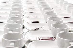 rol van koffiekopje voor seminar foto