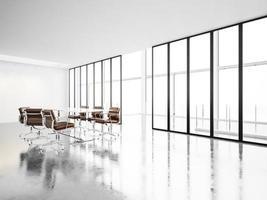 moderne vergaderzaal met panoramische ramen. 3D render foto