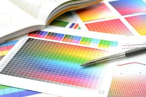 kleurengids om de kleuren voor afdrukken aan te passen foto