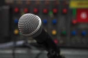 close up van microfoon foto