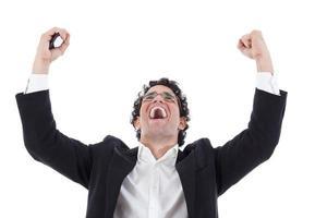 succes met handen in de lucht boven het hoofd en foto
