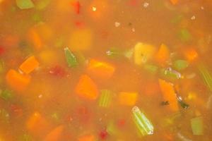 nauwe weergave van krab vlees en groente stoofpot foto