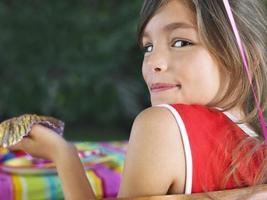 close-up portret van schattig meisje foto