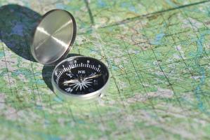 kompas, kaart, buiten. foto