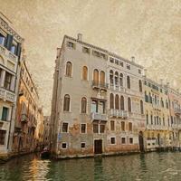 Venetië op oude canvas achtergrond, vintage stijl foto