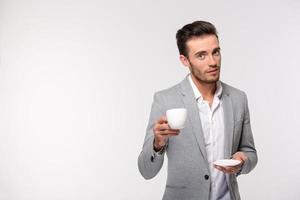 gelukkig zakenman koffie drinken foto