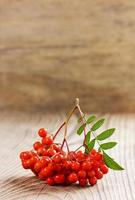 rowanberry of ashberry op een houten bord foto