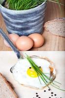 gebakken ei met kruiden op zilveren spatel
