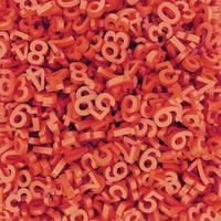 abstracte rood-oranje gevallen nummers. 3D render achtergrond. foto