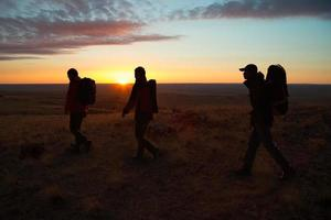 wandelen in de zonnewandelaars foto
