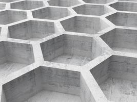 grijze betonnen honingraat structuur achtergrond. 3D-afbeelding foto