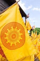 gele dharmachakra vlag foto