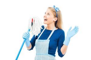 vrolijke huisvrouw foto