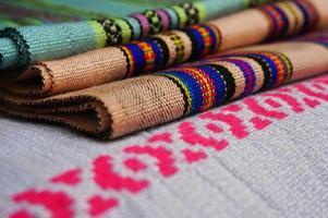 kleurrijk van lao stof foto