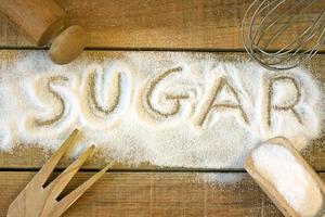 suiker woord met achtergrond foto