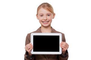 kopieer ruimte op haar tablet. foto