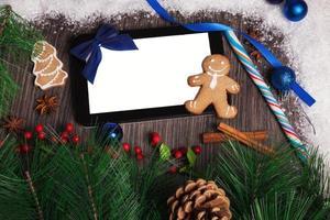 Kerstdecoratie met kopie ruimte foto