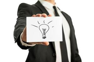 zakenman die een kaart met conceptuele gloeilampentekening steunt