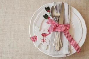 Kerst tabel couvert, vakantie kopie ruimte achtergrond, s foto