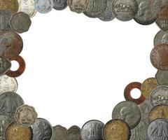 Indiase munten als een frame grens met kopie ruimte foto