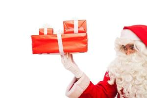 Kerstman met geschenken geïsoleerd op wit, met een kopie ruimte foto