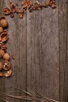 stilleven walnoten rustieke houten plank achtergrond stro kopie ruimte foto
