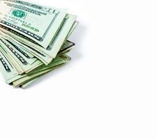 Amerikaanse dollarbiljetten in de hoek en veel foto