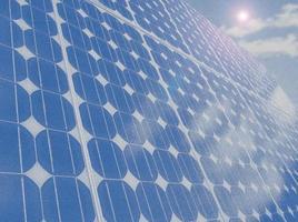 zonnepaneel cellen blauwe hemel kopie ruimte illustratie