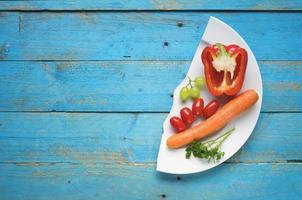 dieet, gezonde voeding, groenten, fruit, vrije exemplaarruimte foto