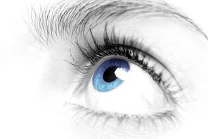blauw oog close-up